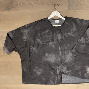 Overstitch Tunic -Charcoal Tie Dye