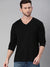 Black Full Sleeves V Neck T-Shirt