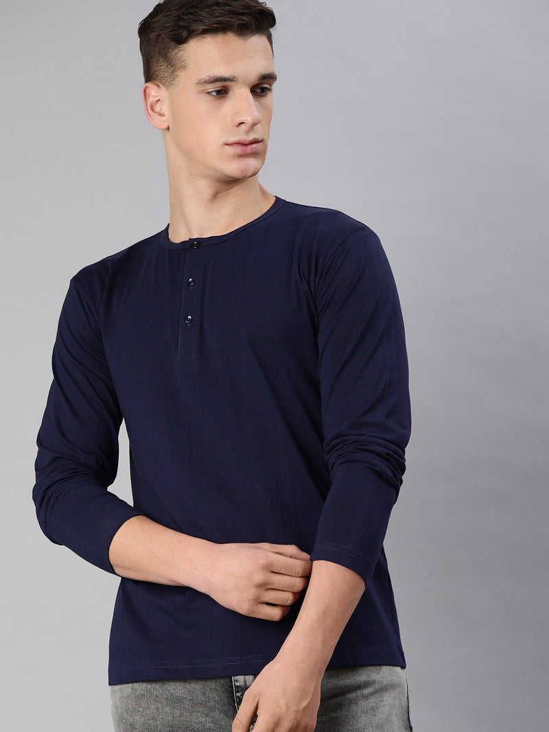 Navy Blue Full Sleeves Henley T-Shirt