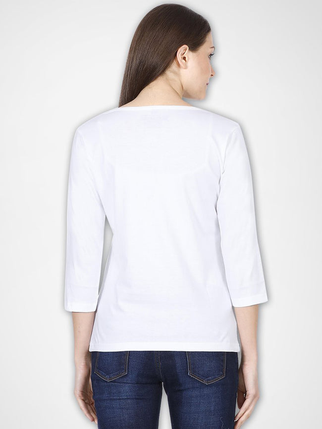 White 3/4th Sleeves Top