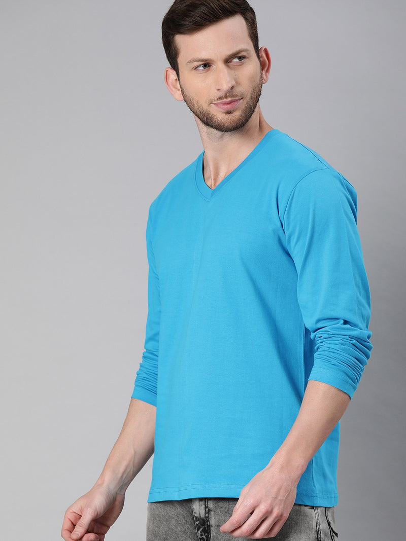 Sky Blue Full Sleeves V Neck T-Shirt