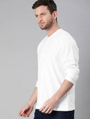 White Full Sleeves Henley T-Shirt