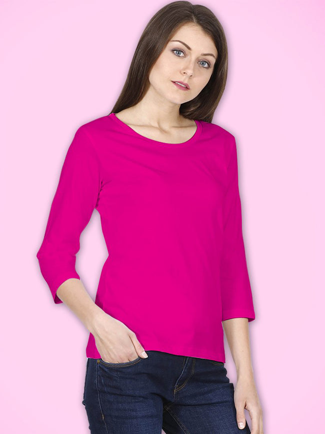 Hot Pink 3/4th Sleeves Top