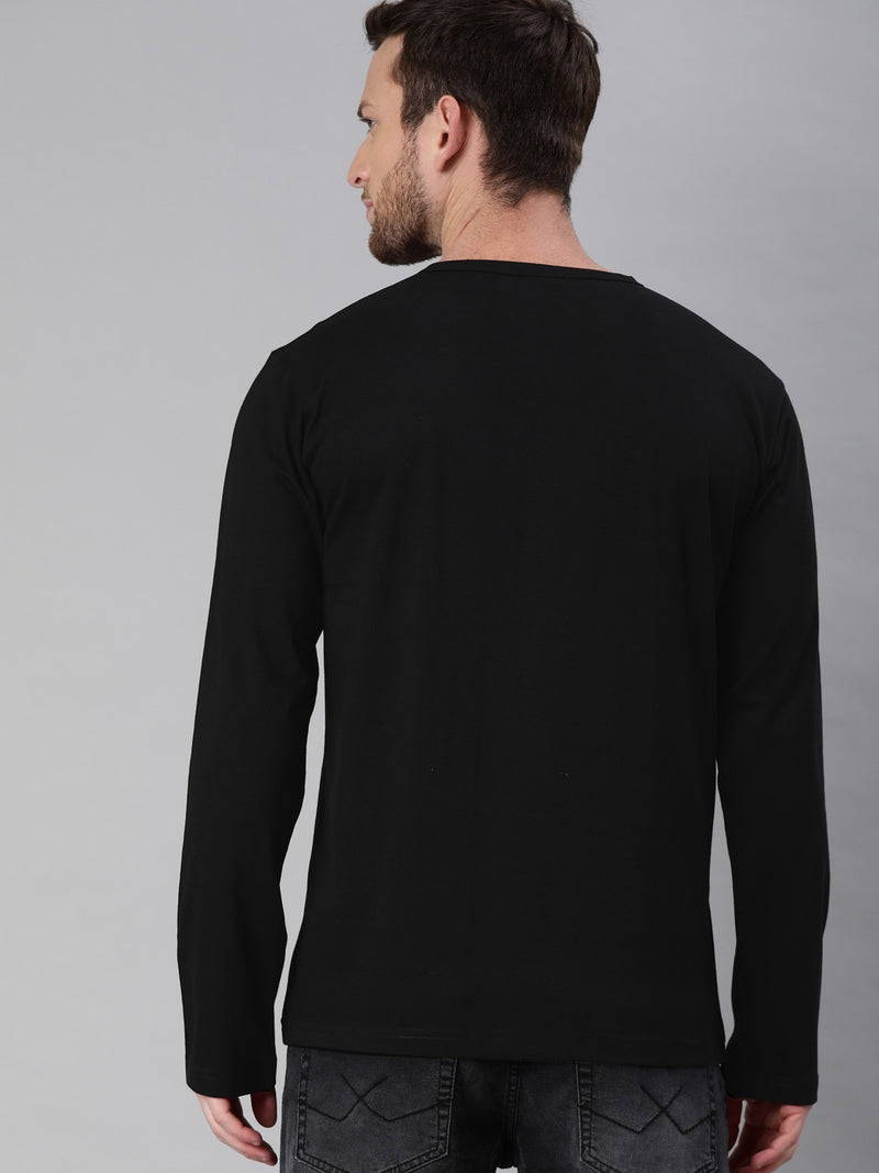 Black Full Sleeves Henley T-Shirt