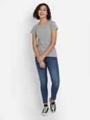 Grey Melange Round Neck Top