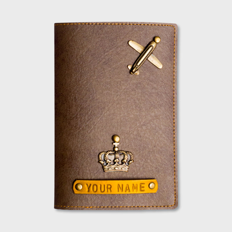 Grey Brown Passport Cover