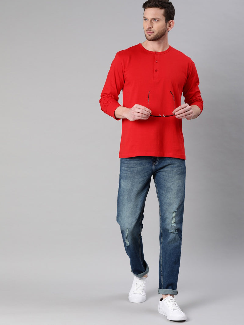 Red Full Sleeves Henley T-Shirt