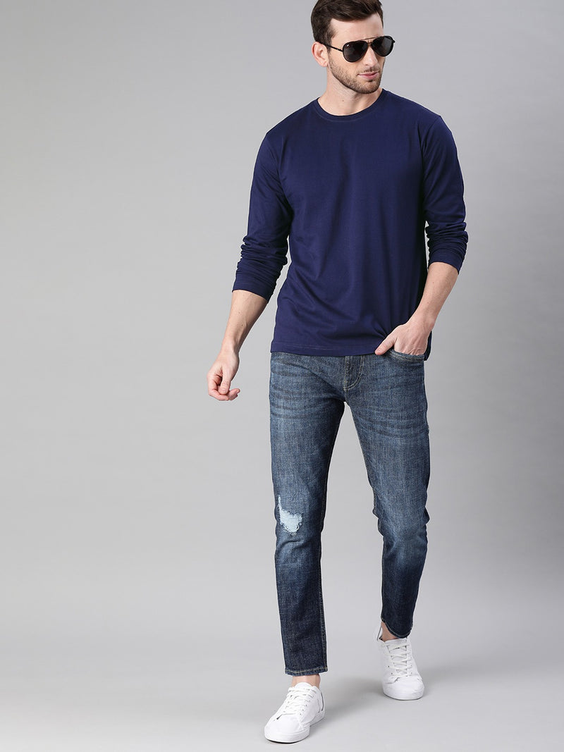 Navy Blue Full Sleeves Round Neck T-Shirt