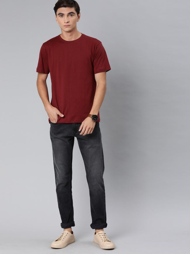 Plain Maroon Round Neck T-Shirt