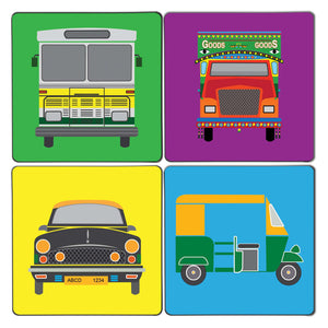 Taxi Truck Art Coaster Set