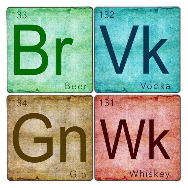 Alcohol Periodic Table Coaster Set