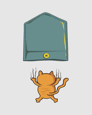 Falling Cat Pocket T-Shirt