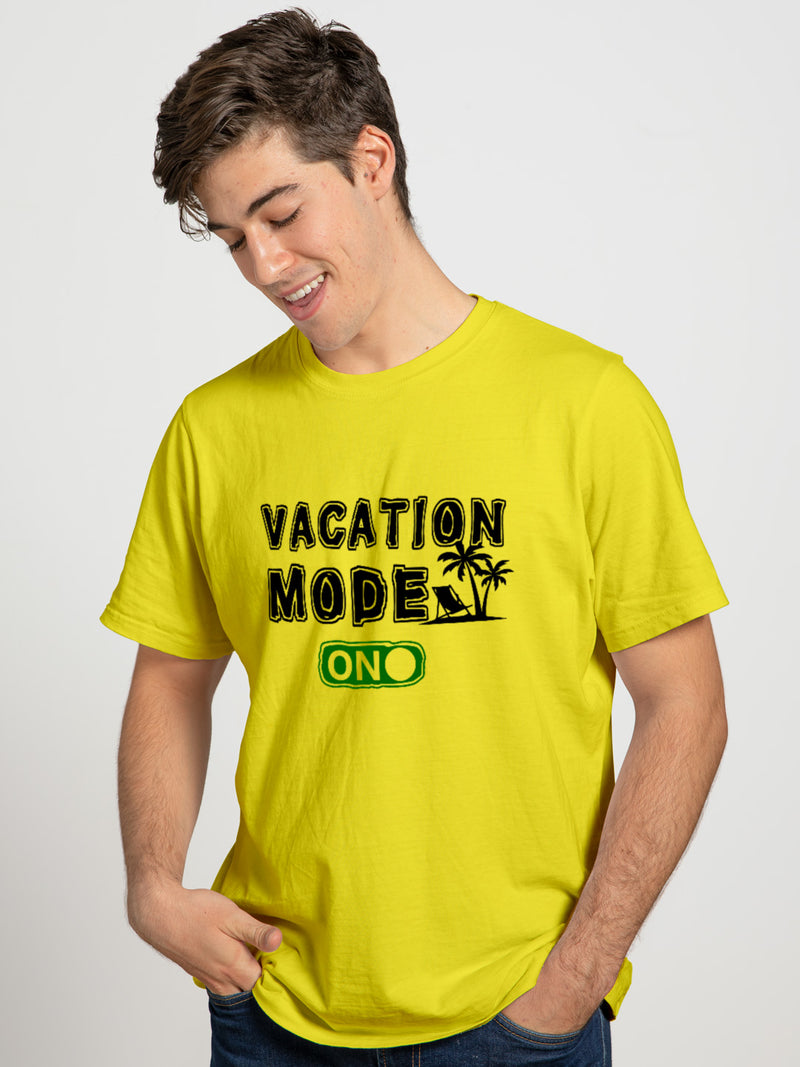Vacation Mode On Half Sleeve T-Shirt For Men