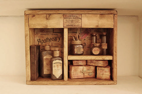 Apothecary Wall Display Wall Art Home Decor - Handmade