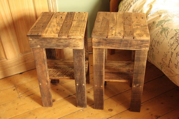 Rustic Bed Side Tables Made With Reclaimed Pallet - Arte Povera - 4