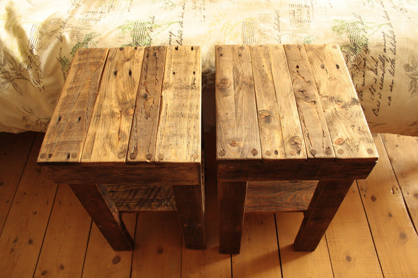 Rustic Bed Side Tables Made With Reclaimed Pallet - Arte Povera - 3