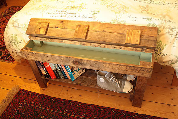 Rustic Bed/Hallway Bench 1 Shelf & Storage Made with Pallet Wood - Arte Povera - 2