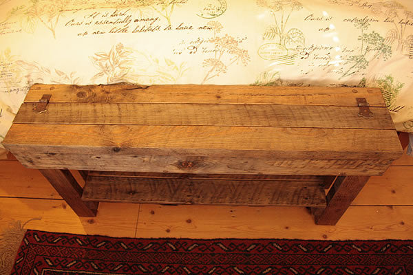 Rustic Bed/Hallway Bench 1 Shelf & Storage Made with Pallet Wood - Arte Povera - 4