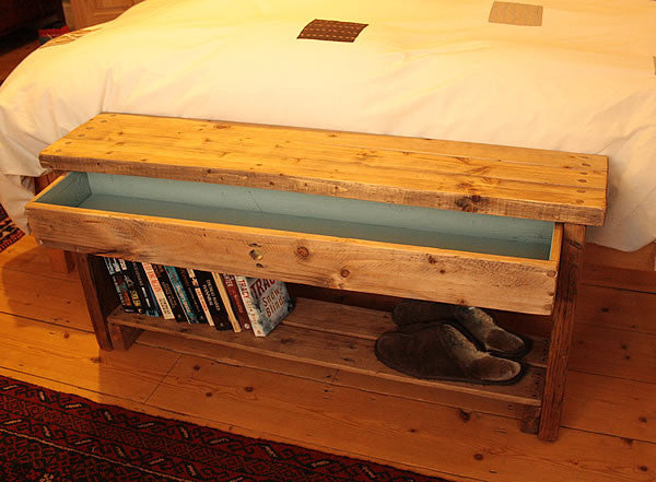 Rustic Bed/Hallway Bench 1 Shelf 1 Drawer Made with Pallet Wood