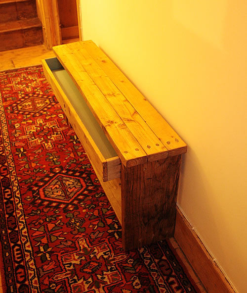 Rustic Bed/Hallway Bench 1 Shelf 1 Drawer Made with Pallet Wood - Arte Povera - 4