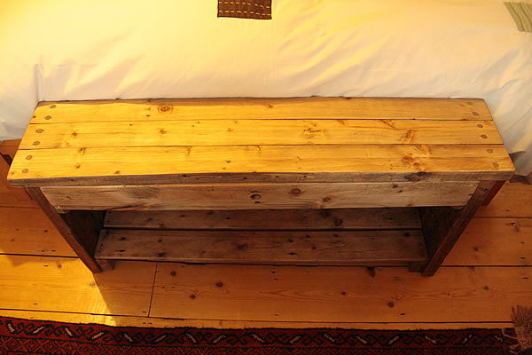 Rustic Bed/Hallway Bench 1 Shelf 1 Drawer Made with Pallet Wood - Arte Povera - 3