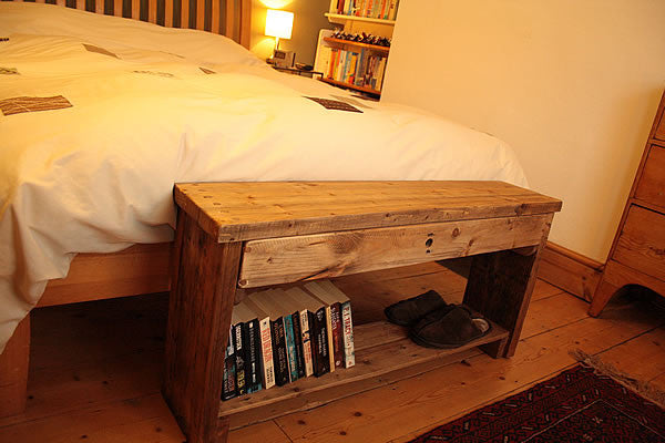 Rustic Bed/Hallway Bench 1 Shelf 1 Drawer Made with Pallet Wood - Arte Povera - 2