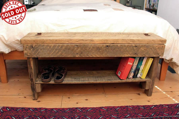 Rustic Bed/Hallway Bench 1 Shelf & Storage Made with Pallet Wood