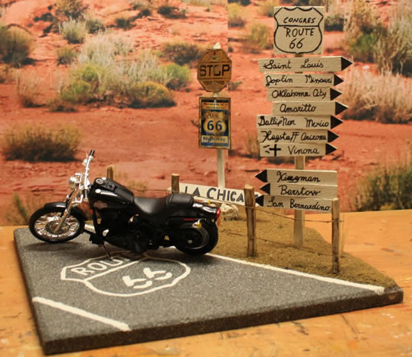 Harley Davidson Bypass On Route 66 - Scale 1/18