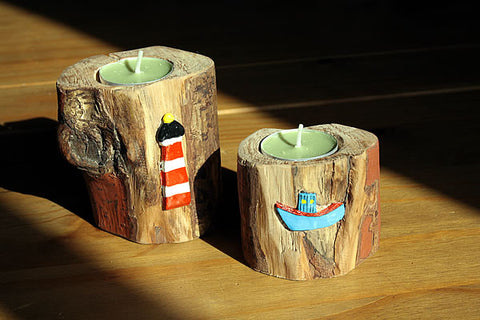 Log Candle Holders With Terracotta Embellishments - Arte Povera - 1