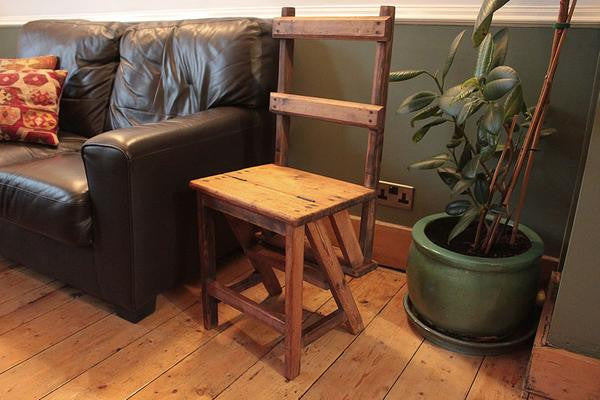 1900s Vintage Step Ladder/Chair Side Table Bedside Table