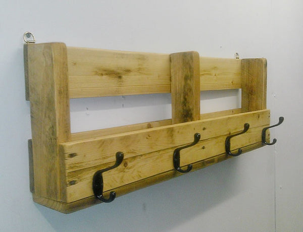 Coat Hanger With Shelf From Reclaimed Pallet - Arte Povera - 5
