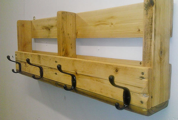 Coat Hanger With Shelf From Reclaimed Pallet - Arte Povera - 2
