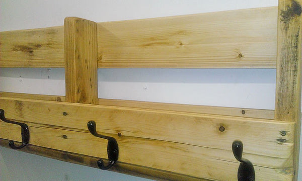 Coat Hanger With Shelf From Reclaimed Pallet - Arte Povera - 3