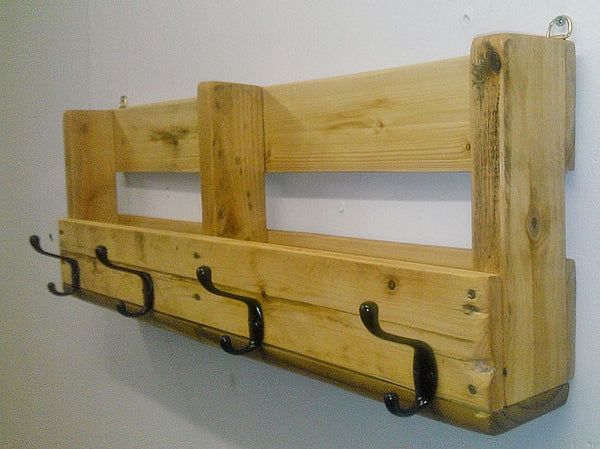 Coat Hanger With Shelf From Reclaimed Pallet - Arte Povera - 4