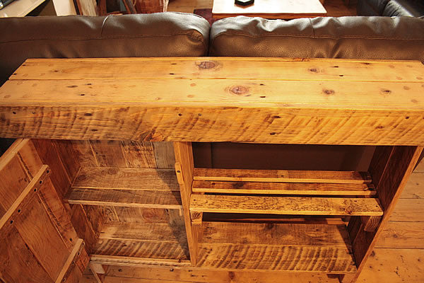 Console Table Sofa/Hallway Table With Cabinet 1 Shelf Made With Pallet Wood - Arte Povera - 4