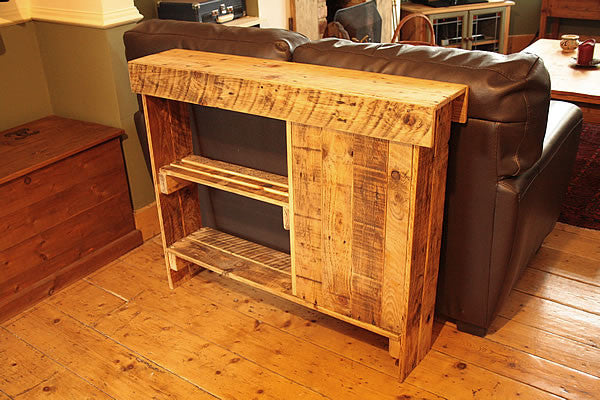 Console Table Sofa/Hallway Table With Cabinet 1 Shelf Made With Pallet Wood - Arte Povera - 2