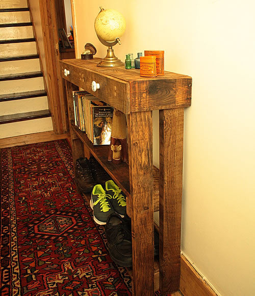 Console Table Sofa/Hallway Table 2 Drawers 2 Shelves Made With Pallet Wood - Arte Povera - 3
