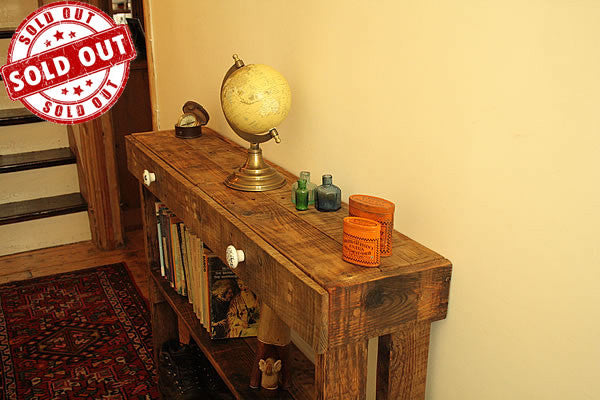 Console Table Sofa/Hallway Table 2 Drawers 2 Shelves Made With Pallet Wood - Arte Povera - 1