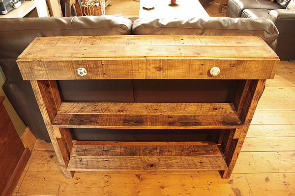 Console Table Sofa/Hallway Table 2 Drawers 2 Shelves Made With Pallet Wood - Arte Povera - 5
