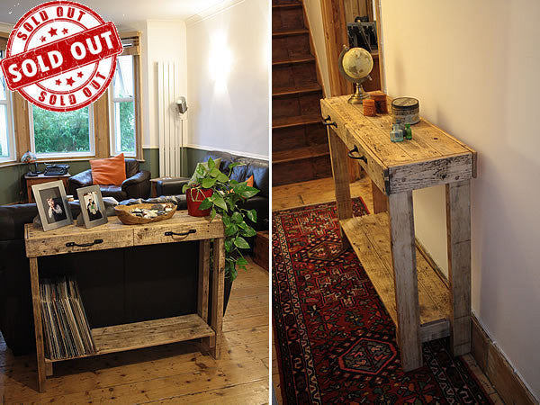 Console Table Sofa/Hallway Table 2 Drawers 1 Shelf Made With Pallet Wood - Arte Povera - 1
