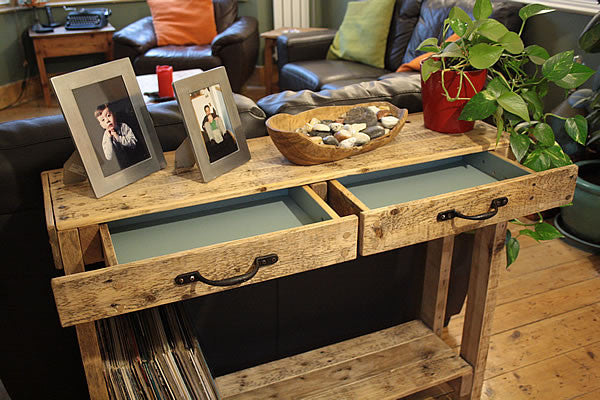 Console Table Sofa/Hallway Table 2 Drawers 1 Shelf Made With Pallet Wood
