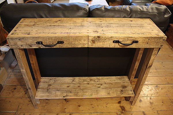 Console Table Sofa/Hallway Table 2 Drawers 1 Shelf Made With Pallet Wood - Arte Povera - 4