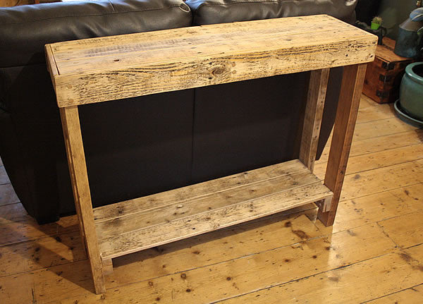 Console Table Sofa/Hallway Table 2 Drawers 1 Shelf Made With Pallet Wood - Arte Povera - 3
