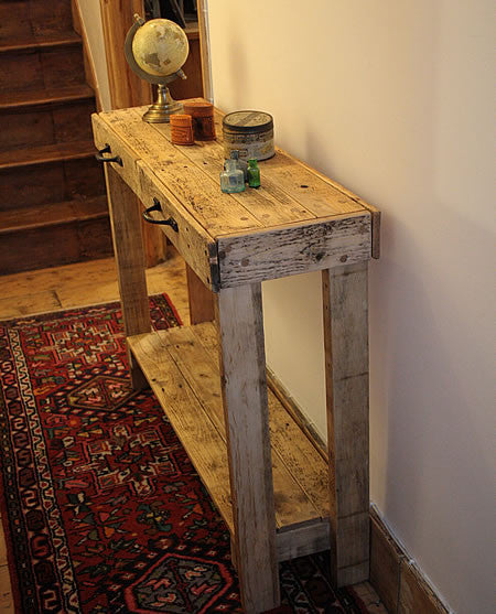 Console Table Sofa/Hallway Table 2 Drawers 1 Shelf Made With Pallet Wood - Arte Povera - 2