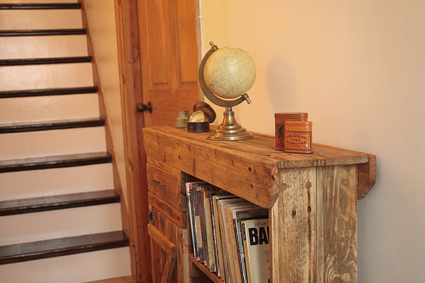 Console Table Sofa/Hallway Table With Cabinet And Drawer 2 Shelves Made With Pallet Wood - Arte Povera - 3