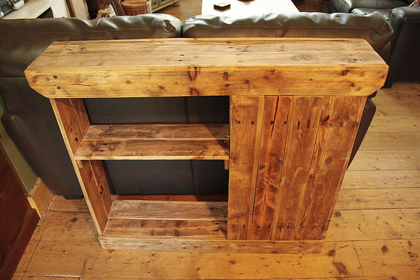 Console Table Sofa/Hallway Table With Cabinet And Drawer 2 Shelves Made With Pallet Wood - Arte Povera - 2