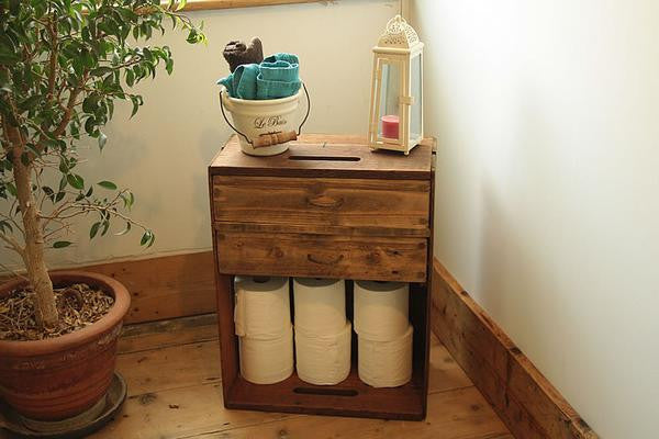 Bedside Table End Table Made With Vintage Crate 2 Drawers