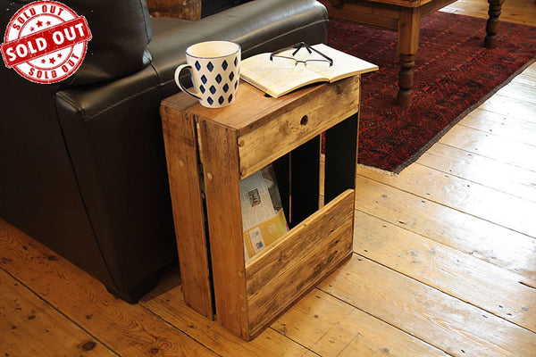 Sofa Table End Table With Magazine Rack 1 Drawer Made With Reclaimed Crate - Arte Povera - 1