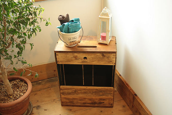 Sofa Table End Table With Magazine Rack 1 Drawer Made With Reclaimed Crate - Arte Povera - 3