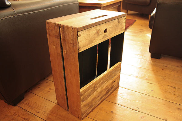 Sofa Table End Table With Magazine Rack 1 Drawer Made With Reclaimed Crate - Arte Povera - 4